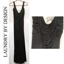 Laundry by Design long black maxi evening dress wchain necklace