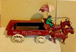 Vintage Cast Iron Toy Horse Team Drawn Fruit And Vegetable Cart. 50's