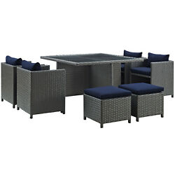Modway Sojourn Wicker Rattan Outdoor Patio 9-piece Dining Set In Canvas Navy