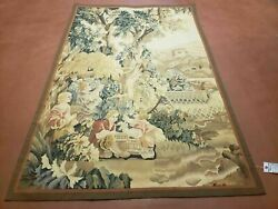 4and039 X 6and039 Tapestry French Design Hand Made Aubusson Weave Nature One Of A Kind