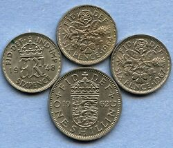 Great Britain 1948 1964 1967 6 Pence And 1962 1 Shilling Coins