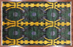 Ikat Hand Knotted Area Rug 6' 0 X 9' 1 - P4994