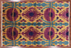 6' 2 X 9' 1 Hand Knotted Ikat Wool Area Rug - P5139