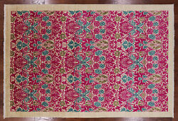 William Morris Hand Knotted Wool Area Rug 6and039 2 X 9and039 2- Q1638