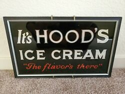 Vintage Hood Ice Cream Mirror Sign . Old Store Counter Display .