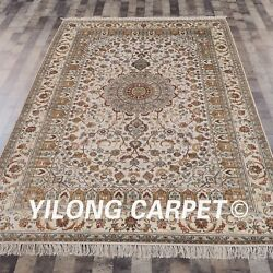 Yilong 6and039x9and039 Handmade Silk Classic Carpet Beige Indoor Hand Craft Area Rugs 056m
