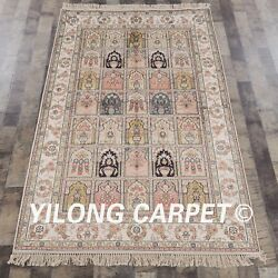 Yilong 4and039x6and039 Four Seasons Silk Hand Knotted Carpets Bedroom Handmade Rugs Y304ab