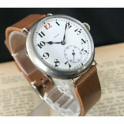 Zenith Trench Military Ww1 Small Second Silver 0.800 Manual Vintage Watch