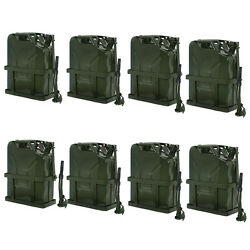 8pcs Green Jerry Can Fuel Tank W/ Holder Steel 5gallon 20l Army Backup Military