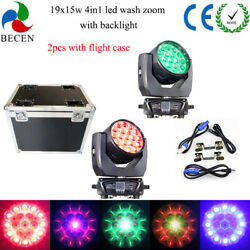 Led 19x15w Rgbw 4in1 Zoom Moving Head Wash Light Dmx512 2pcs Road Case Package