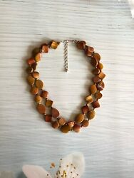 Jay King Sterling Silver 925 Dtr Mine Finds Two Strand Mixed Red Jasper Necklace