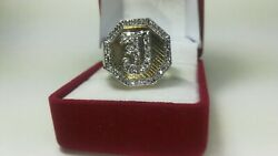 Boss 21.47 Grams Of 14k Solid Gold And Diamond Signet Ring Initial J