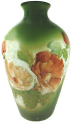 1900s Westmoreland Milk Glass Hand Painted Floral Decoration 10.5t Vase As-is
