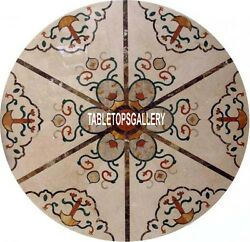30'' White Marble Coffee End Top Table Stone Inlaid Garden Occasion Decor H3999a