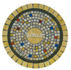 30'' Black Marble Coffee Table Top Mosaic Stone Inlaid Living Home Decors H3968a