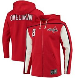 Men's Washington Capitals Alex Ovechkin Full Zip Name And Number Hoodie