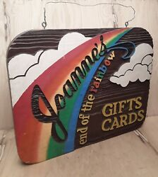 Vintage Wooden Sign Joanneand039s End Of The Rainbow Gift Cards Advertising 26x21