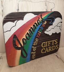 Vintage Wooden Sign Joanne's End Of The Rainbow Gift Cards Advertising 26x21