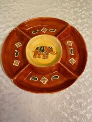Pier 1 Chip And Dip Elephant In Center Pattern Per134 Discontinued Batik
