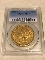 1867-s 20 Pcgs Au50 Liberty Double Eagle Gold Coin Nice Eyeclean