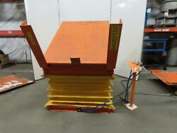 4000lb Pneumatic Scissor Lift And 30° Tilt 66x50 Table 17-1/2 To 39 Height
