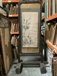Antique Chinese Hardwood Hand-carved Screen