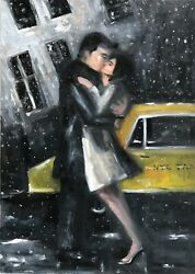 American Impressionistic Nyc Street Scene Of The Kiss In Snow By Cindy Shaoul