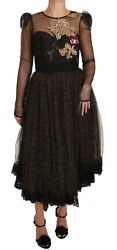 Dolce And Gabbana Dress Black Gold Crystal Heart A-line It38 / Us4 / Xs Rrp 8800