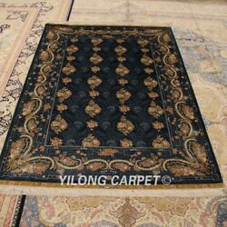 Yilong 4.5and039x6.5and039 Blue All Over Handmade Carpet Porch Hand Knotted Silk Rug Zz057