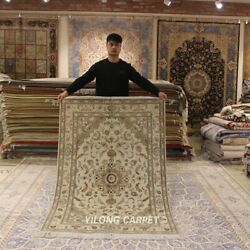 Clearance Yilong 4and039x6and039 Nice Medallion Wool Rug Hand Knotted Woolen Carpet 2110