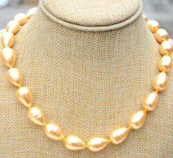 South Sea Yellow Drop Baroque Shell Pearl Necklace 18and039and039real Huge Aaa