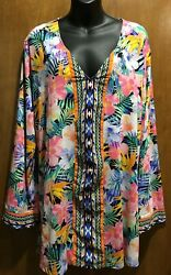 Designer LA BLANCA Resort Cruise Wear Abstract Swimsuit Dress Cover Up Size XL