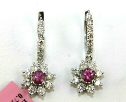 Round Pink Sapphire And Diamond Halo Drop Lady's Earrings 14k White Gold 2.54ct