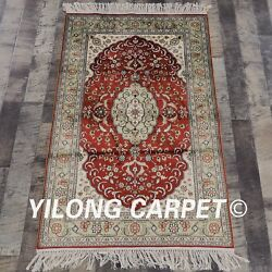 Yilong 2.5and039x4and039 Small Red Hand Knotted Carpets Silk Home Decor Handmade Rugs 837b