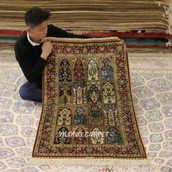 Yilong 2.5and039x4and039 Four Seasons Handwoven Rug Vintage Hand Knotted Silk Carpets 265h