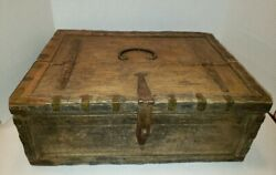 Rare Antique 18th Century Wooden Betel Paan Lime Box W/hammered Iron