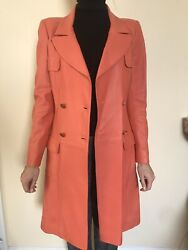 40 Coral Coat Lambskin Leather Silk Vintage Pink New And Authentic