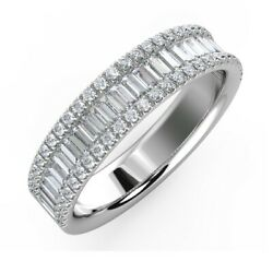 1.00ct F/vs Triple Row Baguette And Round Diamond Eternity Ring In 18k White Gold