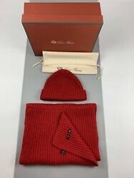 LORO PIANA 100% Cashmere Beanie Hat Scarf Women's Thick Knitted Set of 2 piece