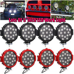 7inch 51w Round Off Road Led Work Lights Bright Fits Jeep Truck Bumper Boat 4wd