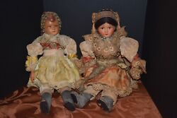 Vintage Czech Folk Dolls In Traditional Ethnic Costumes 16 Tall