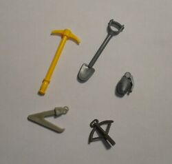 Vintage Military Action Figure Toys, Yellow Pick Axe Shovel Grenade Sextant Hook