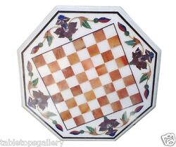 3'x3' White Marble Coffee Chess Table Top Marquetry Inlay Mosaic Decorates H1547