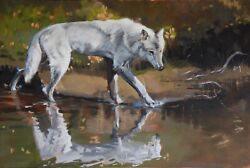 Wolf Original Oil Painting Wildlife Lone Wolf Signed Large On Canvas