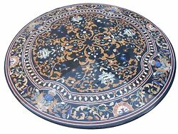 3'x3' Black Marble Dining Round Table Top Pietra Dura Inlay Decors Gift H1581