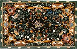4'x2' Green Marble Dining Table Top Marquetry Inlay Gems Mosaic Home Decor H1631