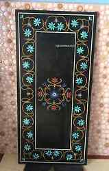 4'x2' Black Marble Dining Table Top Turquoise Inlay Floral Handmade Decor H2393