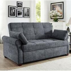 Luxury Gray Queen Size Pull Out Sleeper Futon Sofa Bed Lounger Convertible Couch