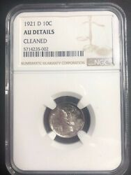 1921-d Mercury Dime Almost Uncirculated Ngc Graded Low Mintage Key Date Coin