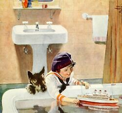 63. Kohler Ad Edwin Henry Girl Dog Boat Toy Reprint A4 Buy 1 Get Any Print Free